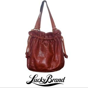 Lucky Brand distressed leather bag brown EUC